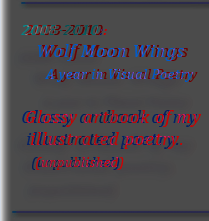 2008-2010:  Wolf Moon Wings  A year in Visual Poetry  Glossy artbook of my